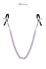 Chaine et pinces à seins Sweet Caress - 2 pinces à seins reliées entre elles par une chainette en acier, pour lui procurer de délicieuses sensations.