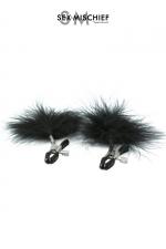 Pinces à tétons plume - S&M - Pinces à seins réglables avec des plumes noires décoratives, par Sex & Mischief.