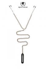 Parure BDSM Tweezer Clamps + bullet vibrant - Une chainette BDSM avec pinces tétons et vibro bullet pour un mélange piquant de sensations.