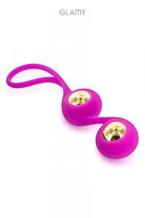 Gold Love Balls : Petit stimulateur anal avec billes amovibles en acier plaqué or 18 carats, marque Glamy.