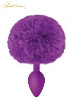 Plug queue de lapin - violet - Un plug anal élégant et original avec son pompon violet en fourrure synthétique fixé à son extrémité.