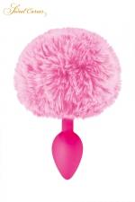 Plug queue de lapin - rose - Un plug anal élégant et original avec son pompon rose en fourrure synthétique fixé à son extrémité.