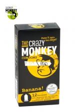12 Préservatifs Crazy Monkey Banane - 12 préservatifs jaunes, arôme banane, cylindriques, lisses et lubrifiés, par Crazy Monkey.