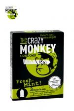 3 Préservatifs Crazy Monkey Menthe Fraiche - 3 préservatifs verts, gout menthe, cylindriques, lisses, lubrifiés, par Crazy Monkey.