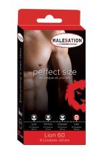 8 Préservatifs Perfect Size Lion 60 : Avec Perfect size Lion de 60 mm de diamètre, choisissez des préservatifs parfaitement ajustés à votre taille.