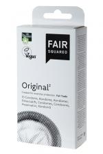 10 préservatifs Fair Squared Original - 10 préservatifs Vegan transparents, surface lisse, en latex de caoutchouc naturel, issus du commerce équitable.