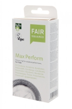 10 préservatifs Fair Squared Max Perform - 10 préservatifs Vegan avec cockring intégré pour des performances maximales.