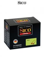 50 préservatifs Sico GRIP - Boite de 50 préservatifs transparents, lubrifiés, avec anneau renforcé et serré à la base pour un meilleur ajustement.