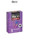 3 préservatifs Sico COLOUR - Préservatifs colorés et aromatisés (banane, fraise, tutti frutti) pour des jeux amoureux encore plus fun.