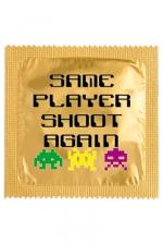 Préservatif humour - Same Player Shoot Again - Préservatif Same Player Shoot Again, un préservatif personnalisé humoristique de qualité, fabriqué en France, marque Callvin.