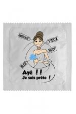 Préservatif humour - Ayé Je Suis Prête - Préservatif  Ayé Je Suis Prête , un préservatif personnalisé humoristique de qualité, fabriqué en France, marque Callvin.
