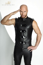 Veste STRONGER Clipped  - Veste sans manches ras du cou style uniforme d'apparat, fermée par un zip et des bandes de vinyle brillant.