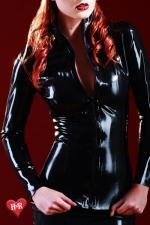 Veste latex Mistress - Veste en latex Skin Two haute qualité, indispensable aux belles fétichistes frileuses.