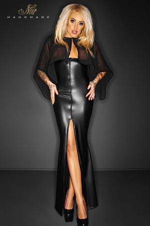 Robe longue Desire : Robe longue seins nus en wetlook mat doublé d'une cape de mousseline. Un zip intégral devant et derrière permet toutes les audaces.