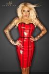 Robe vinyle Taboo - Rouge - Robe en vinyle rouge, avec une fermeture lacée style corset sur toute la hauteur de la fente arrière.
