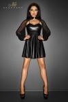 Robe Immoral - Robe courte évasée sur les cuisses en wetlook mat, avec un boléro de tulle transparent doux et léger.