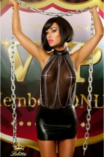 Bestseller - Robe sexy : Mini robe sexy wetlook moulante sur les hanches, avec un bustier en résille dos nu décoré d'une cascade de chaînes chromées.