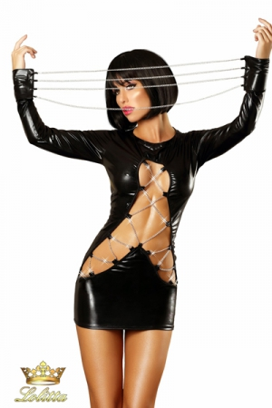 Dash - Robe sexy wetlook - Robe sexy moulante en wetlook brillant, ouverture sublime sur le ventre retenue par des cha�nes chrom�es.