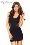 Robe Laura - Petite robe noire sexy avec un empiècement de résille qui part des hanches pour dévoiler le dos.