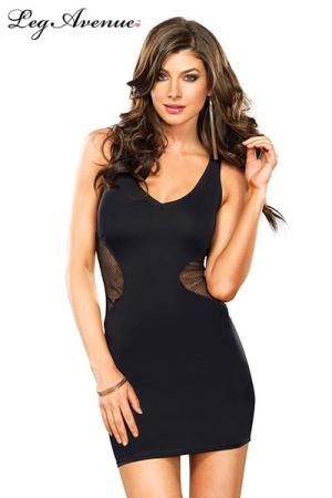 Robe Laura - Petite robe noire sexy avec un empi�cement de r�sille qui part des hanches pour d�voiler le dos.