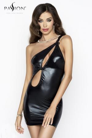 Robe Cornelia - Noir - Robe asymétrique en wetlook noir brillant, avec une fente sexy devant et une double bretelle sur l'épaule.
