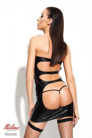Robe Dagmar - Mistress Collection - Robe sexy fetish wetlook et sa paire de bas en résille auto-fixants.