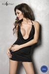 Robe Miracle - Noir - Robe courte moulante avec un profond décolleté sur la poitrine.