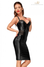 Robe moulante wetlook F180 - Robe sexy mi-longue au style vraiment exceptionnel.