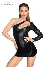 Mini robe asymétrique F199 - Robe courte asymétrique en faux cuir laqué et wetlook au décolleté fantaisie.