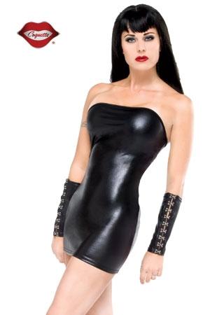 Robe tube Darque - Mini robe tube en lycra wet look.