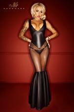 Robe Bad Girl : Une robe longue somptueusement provocante, avec le tulle transparent qui offre vos cuisses et vos fesses au plaisir des regards.