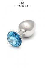 Rosebuds cristal medium aquamarine - Le plus connu des rosebuds dans sa taille classique, avec un bijou en cristal Swarovski  coloris aquamarine.