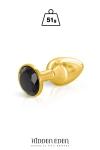 Plug bijou aluminium or et noir S - Hidden Eden - Plug anal en aluminium doré d'une longueur de 7,1 cm et d'un diamètre moyen de 2,7 cm. Décoré d'un strass rond noir.