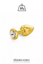 Plug bijou aluminium gold XS - Hidden Eden - Plug anal en aluminium doré d'une longueur de 5,9 cm et d'un diamètre moyen de 2,5 cm. Décoré d'un strass rond transparent.