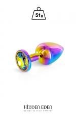 Plug bijou aluminium Rainbow S - Hidden Eden - Plug anal en aluminium arc-en-ciel d'une longueur de 7,2 cm et d'un diamètre moyen de 2,7 cm. Décoré d'un strass rond multicolore.