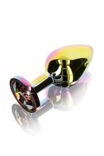 Plug anal Twilight Booty Jewel - Medium - Plug anal taille medium en aluminium et verre acrylique, dimensions 8,2 x 3,4 cm, corps et bijou arc en ciel, by ToyJoy.