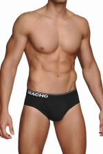 Slip MC088 noir - Slip noir à la coupe traditionnelle de la marque Espagnole de lingerie Masculine Macho.