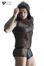 T-shirt à capuche wetlook et mesh - Regnes - T-shirt noir en mesh avec capuche et bandes larges en wetlook fabriqué en Europe par Regnes Fetish Planet.