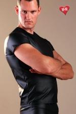 Tee Shirt faux cuir - Tee-shirt moulant effet faux cuir, alliez confort et style.