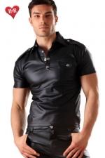 Polo Men's military faux cuir - Polo à poche sur la poitrine effet faux cuir, une ligne très masculine pour homme de caractère.