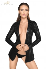 Veste tailleur wetlook à rayures F209 - Veste esprit tailleur en wetlook rayé, fermée par un zip court à la taille.
