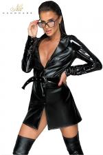 Trench coat wetlook et vinyle F225 : Trench coat très tendance en wetlook et vinyle, la veste sexy indispensable.