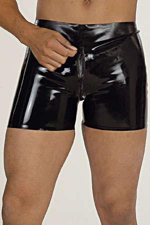 Short zippé en latex : Short en latex de haute qualité équipé d'un double zip depuis la ceinture jusqu'en haut des fesses.