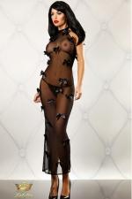 Bedroom Diva - Robe longue : Robe longue en fine résille totalement transparente, parsemée de noeuds de satin très coquins.