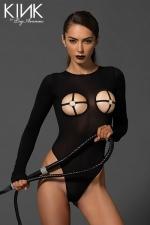 Body voile Cross - Body fetish en voile opaque, ouvert sur les seins et dans le dos, avec un anneau O-ring qui encercle les tétons.