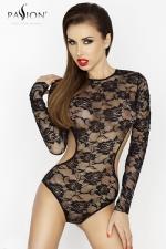 Body dentelle Yolanda - Body manches longues en dentelle à motif de roses, ouvert d'un large décolleté dans le dos.