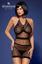 Robe sexy D115 - Obsessive - Robe courte noire ultra sexy et transparente, en résille, par Obsessive.
