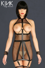 Robe Bondage Garter Dress : Robe bondage à jarretelles vraiment sexy, avec ses menottes attachées.