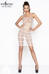 Robe résille BS033 - Blanc - Robe blanche en résille à bretelles, coquine et sensuelle.