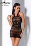 Robe BS063 - Noir - Mini robe dos nu en résille noire transparente enrichie de magnifiques motifs.